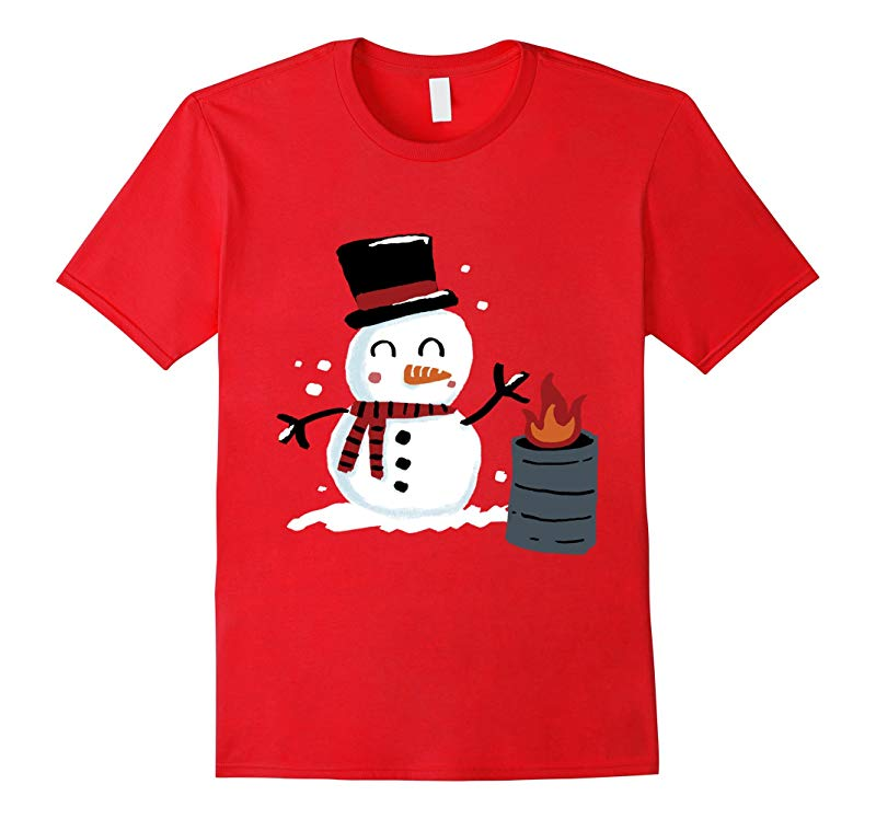 Happy Holidays Cute Winter Snowman Christmas T-Shirt-RT