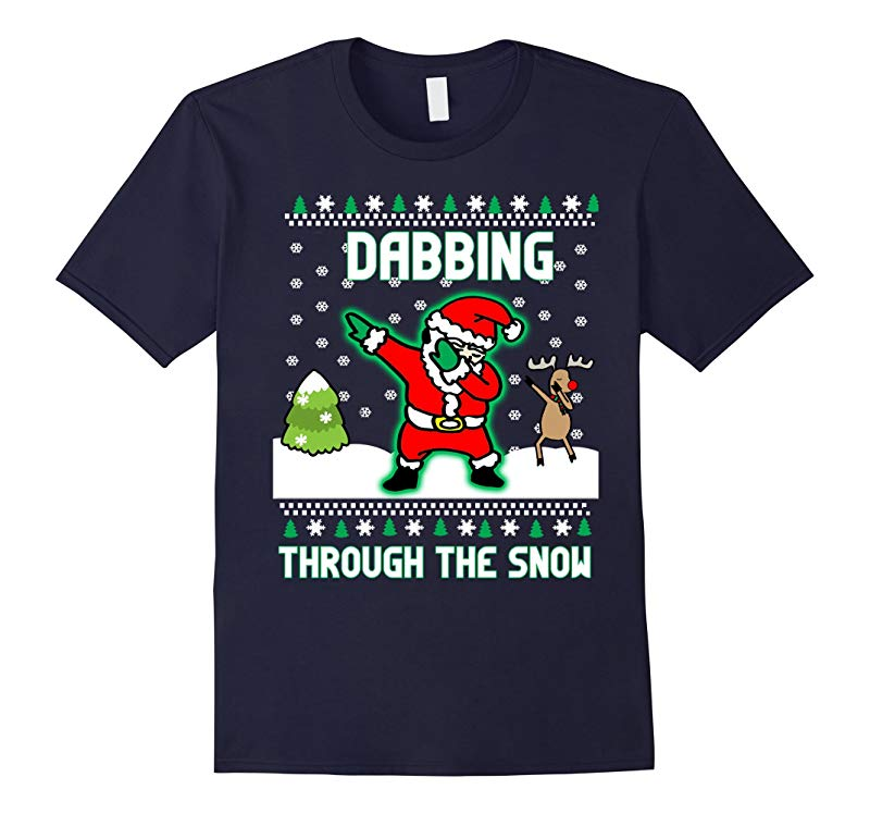 Dabbing Through The Snow Santa And Reindeer Funny Christmas-RT