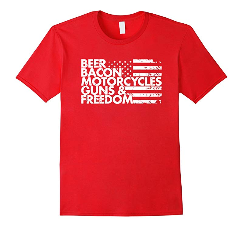 America Tees - Beer Bacon Motorcycles Guns Freedom T-Shirt-BN