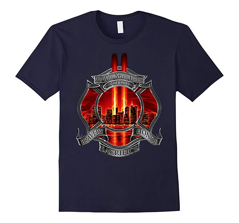 9/11 Memorial Never Forget Patriot Day T-Shirt Firefighter-TH