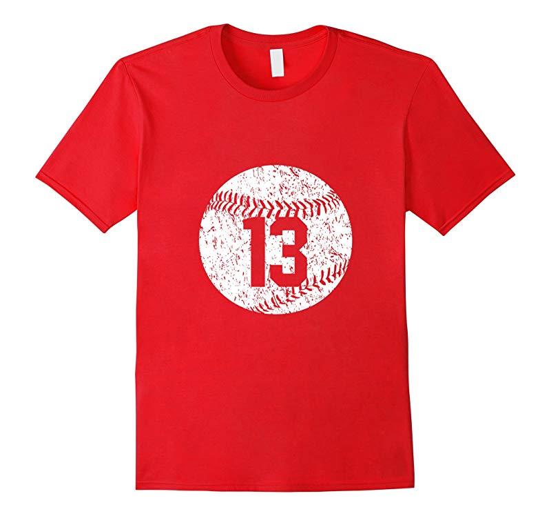 Baseball Jersey Number 13 T Shirt Distressed Look-RT