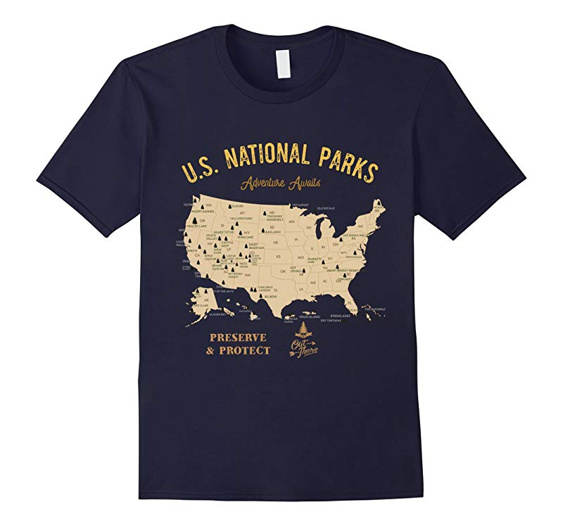 USA National Park Map T-Shirt Vintage Hiking Camping TShirt-ANZ
