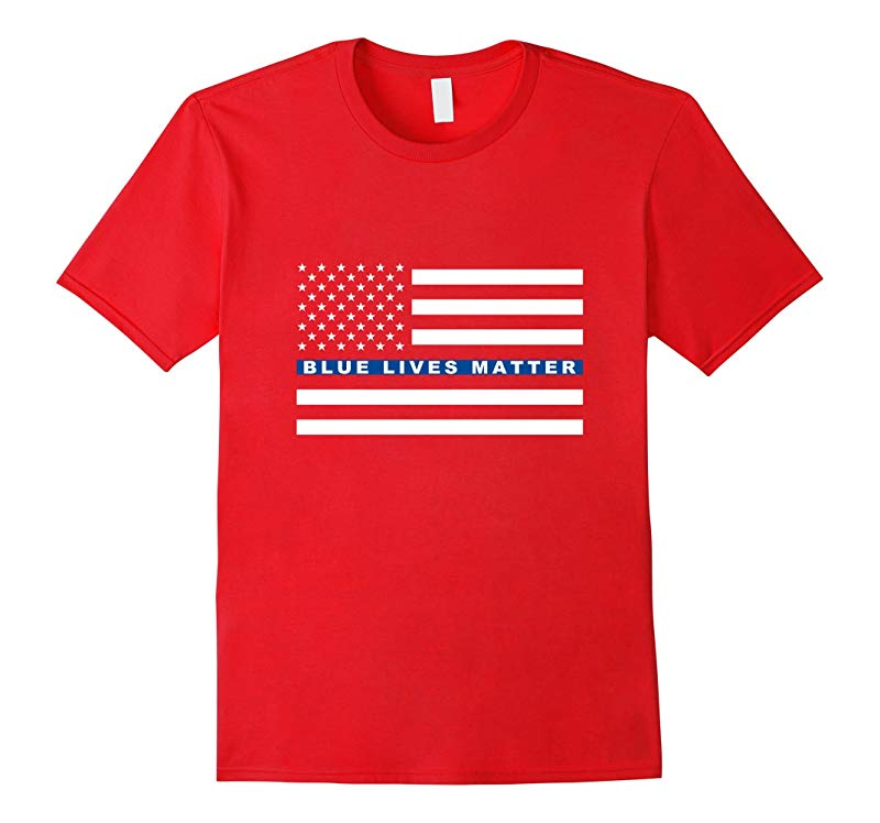Blue Lives Matter T-Shirt - Thin Blue Line Flag - Police-RT