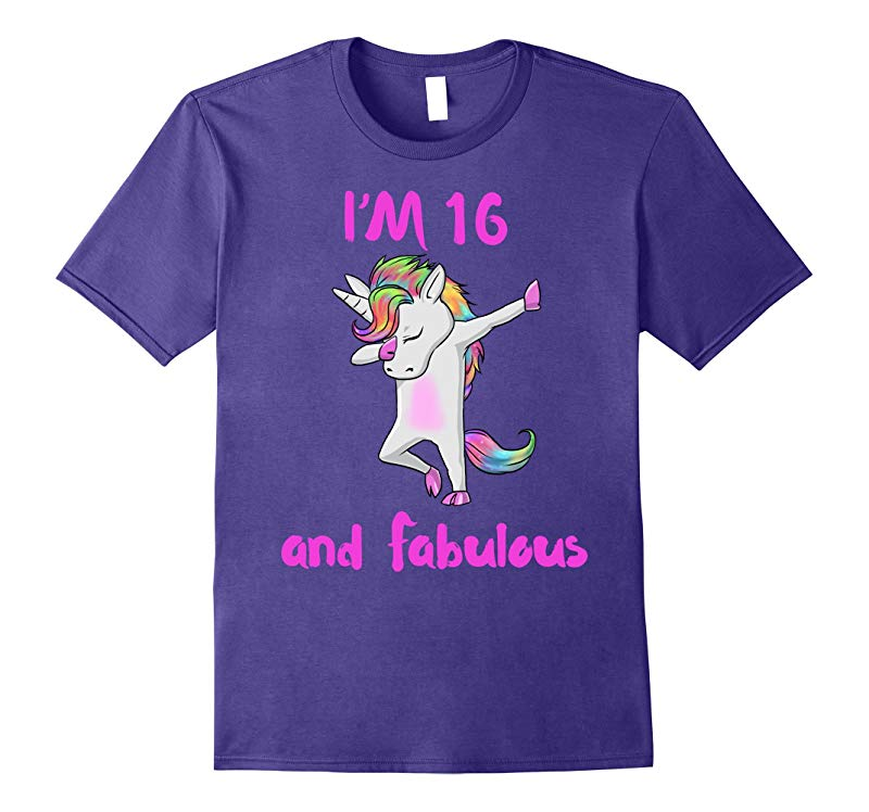 16 and fabulous sweet sixteen girls unicorn dab dance t shir-RT
