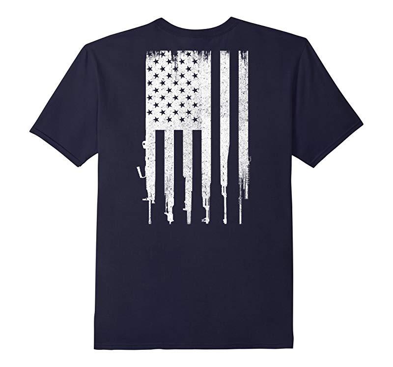 Mens Rifle American Flag Shirt Gun Rights T Shirt-RT