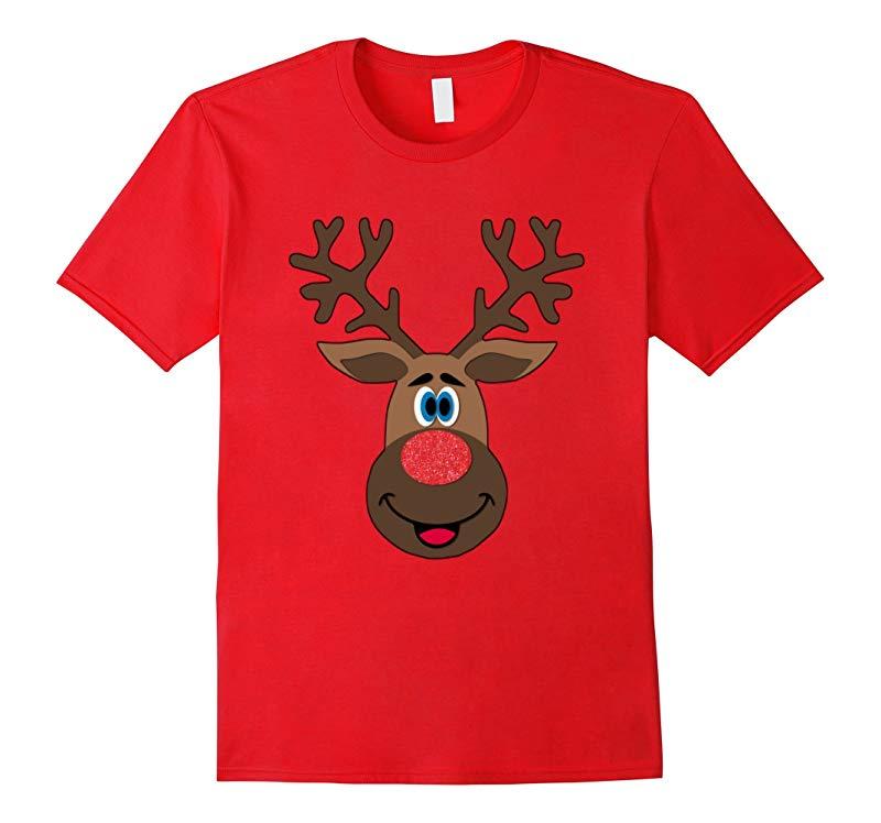 Adorable Big Reindeer Face Matching Family Christmas Shirts-RT