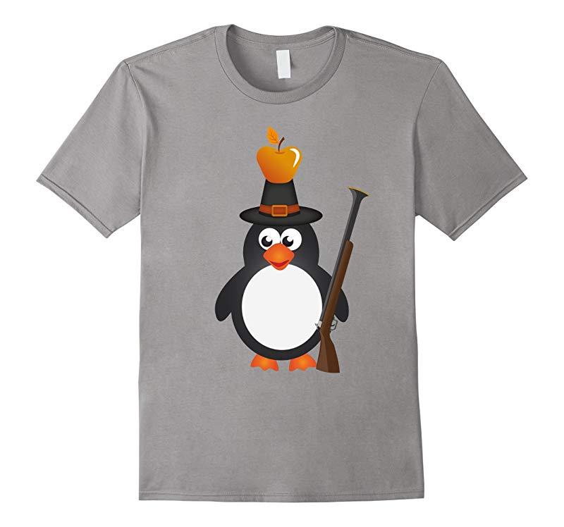 Penguin Pilgrim Holiday Thanksgiving T-Shirt - Unisex-RT