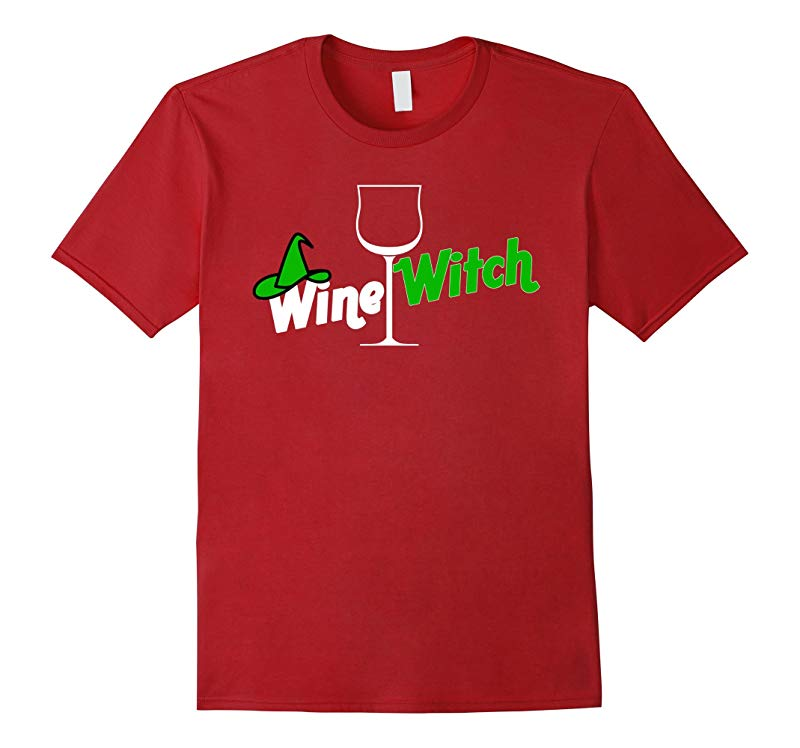 Wine Witch T-Shirt Funny Halloween Party Costume T-Shirt-RT