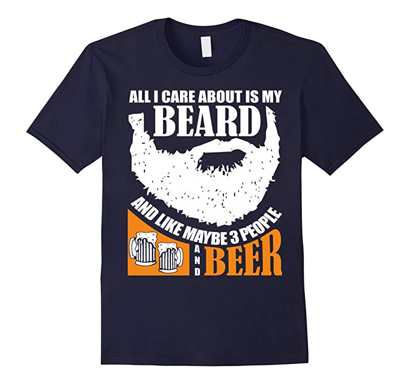 Mens All I Care About Is My Beard Three People and Beer T Shirt-RT