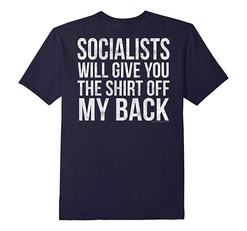 Print on Back Anti-Socialist Against Bernie Sanders T-Shirt-RT