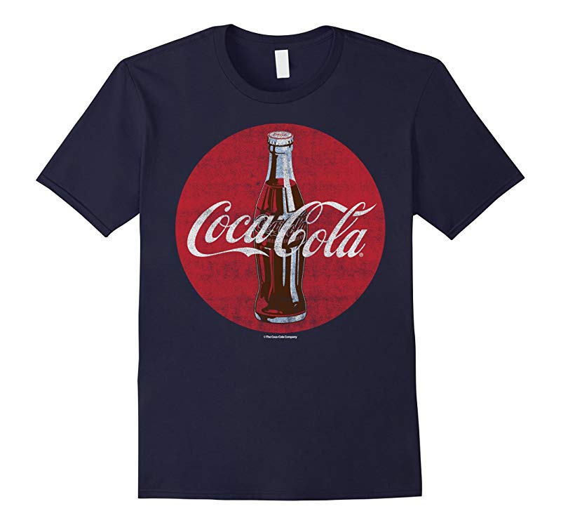 Coca-Cola Vintage Retro Bottle Disc Logo Graphic T-Shirt-T-Shirt