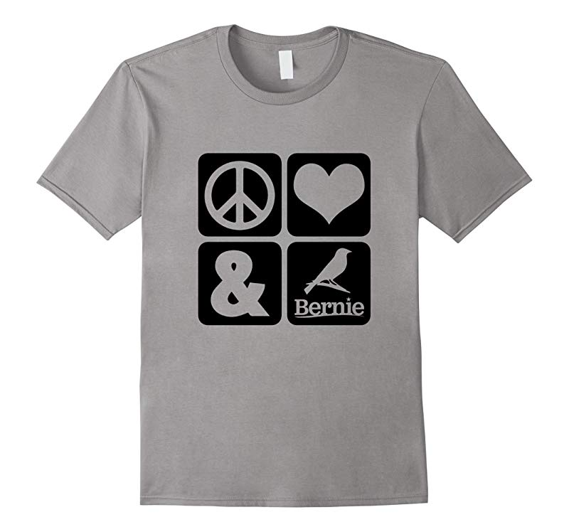 Peace Love and Bernie Sanders bird campaign T shirt 2016-RT