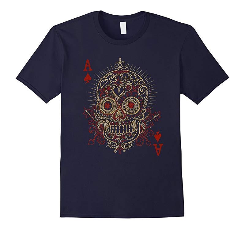 Ace Of Spades Skull Gambling Poker T-Shirt-RT