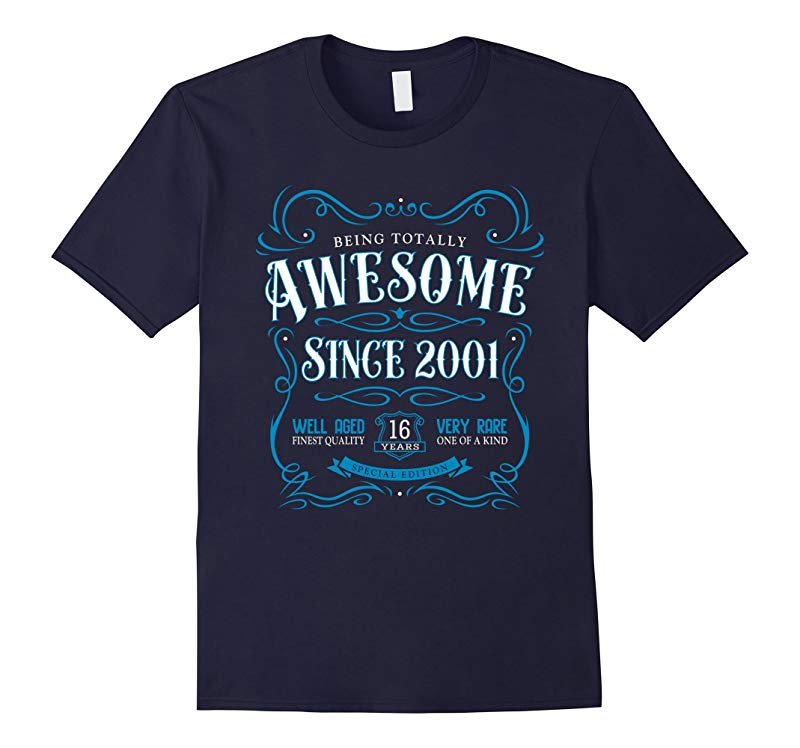 16th Birthday Gift T-Shirt Awesome Since 2001 Blue-RT
