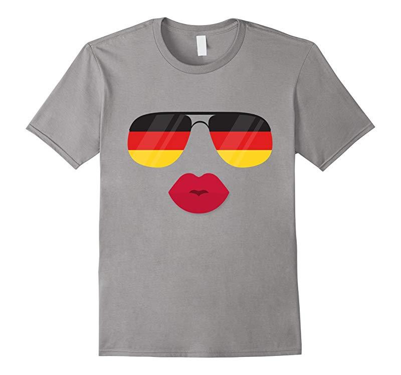 German Sunglasses & Lips T-shirt Cool Germany Flag Gift Tee-RT