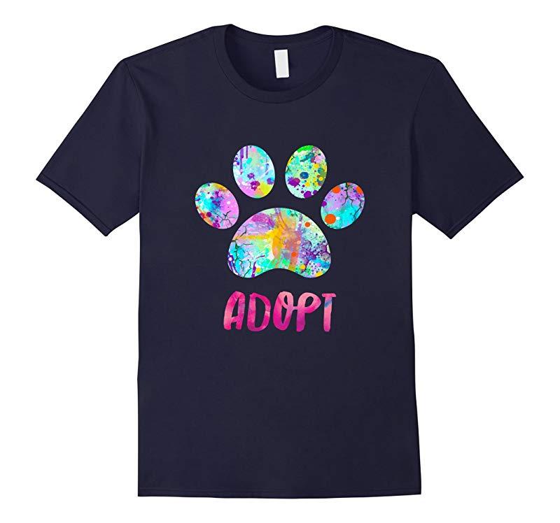 Adopt a Dog Shirt Watercolor Rescue Dog Paw Print Tee Shirt-RT