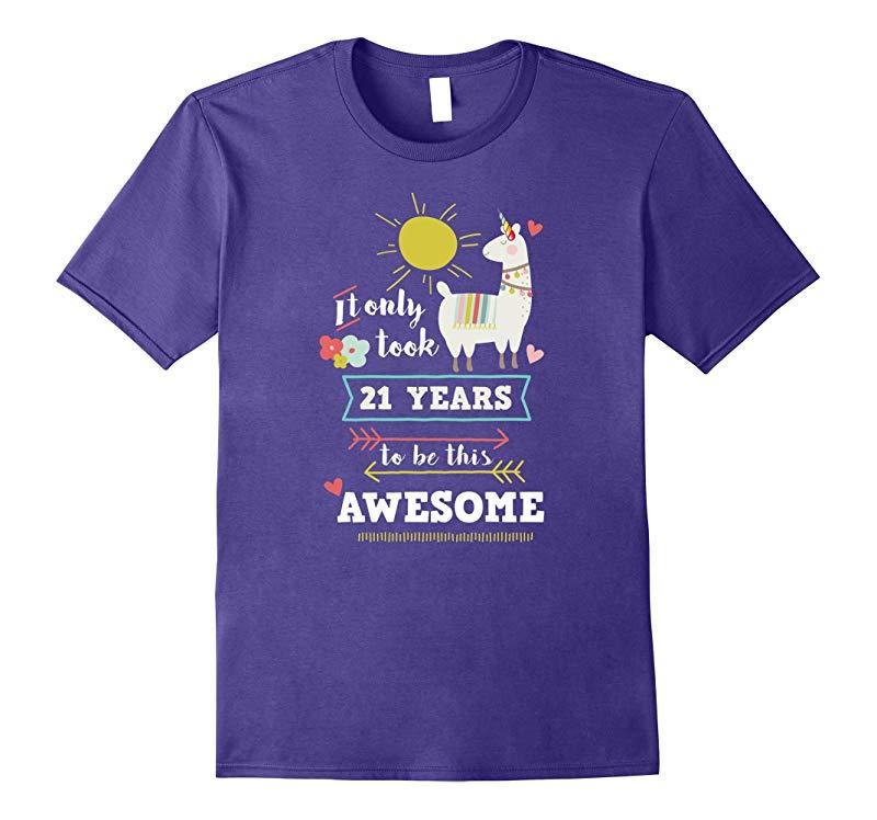 Llamacorn Cute 21st Birthday T-Shirt for Girls-RT