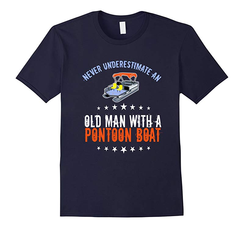 Mens Old Man with A Pontoon Boat Funny Fishing Tee-RT