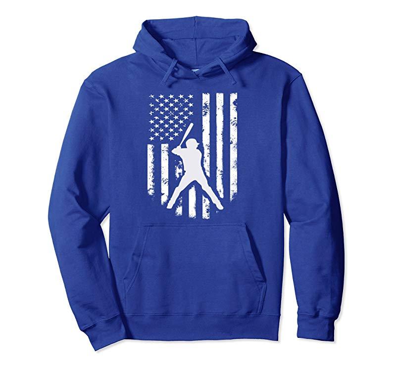 American Flag Baseball Hoodie Distressed USA Hooded Gift Tee-alottee gift