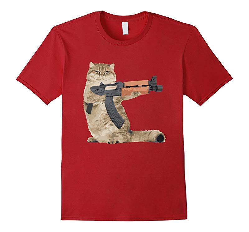 AK47 Kalashnikat Funny Cat Gun TShirt Kitty T Shirt-BN