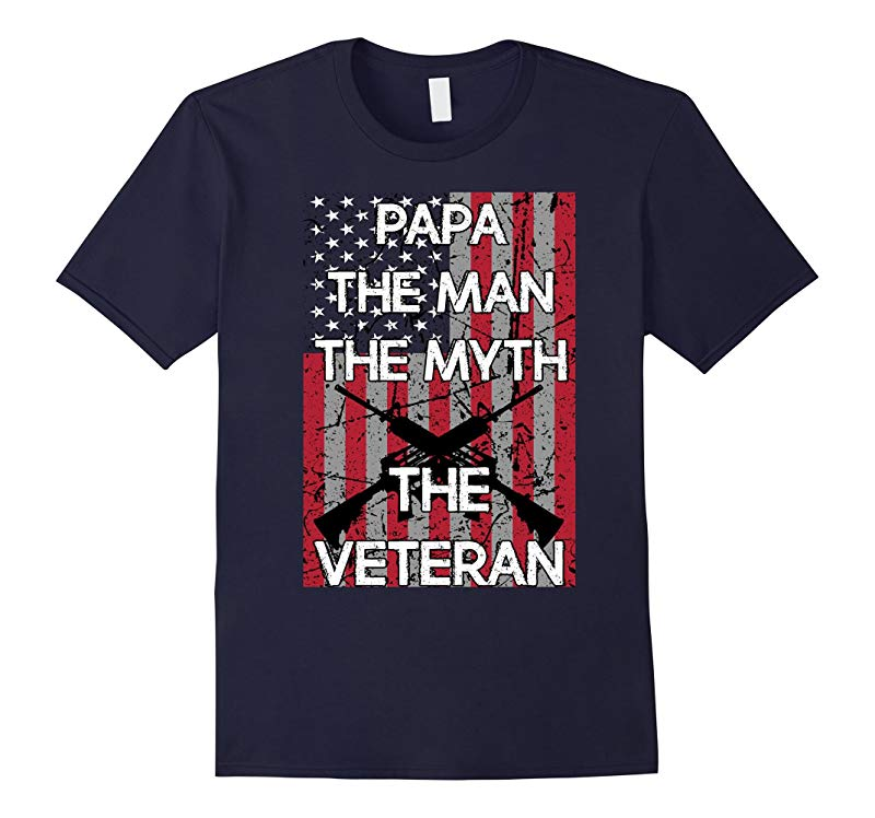Mens Papa The Man Myth Legend Veteran US Flag Father Day Shirt G-TD