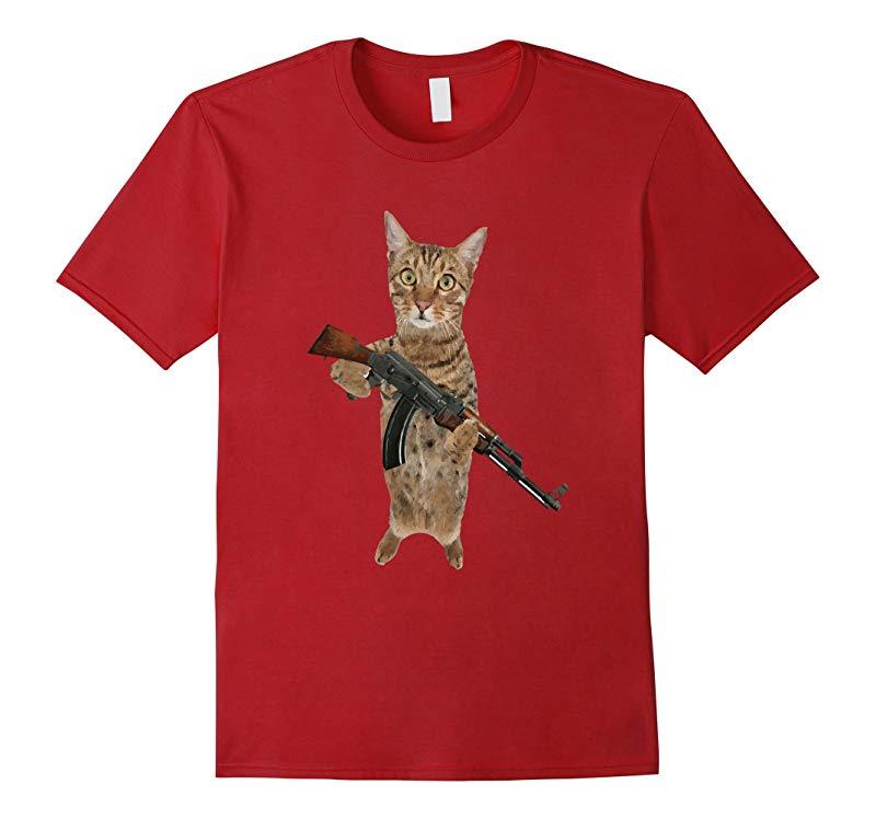 AK47 Kalashnikat Funny Cat Gun TShirt Kitty T Shirt-CL