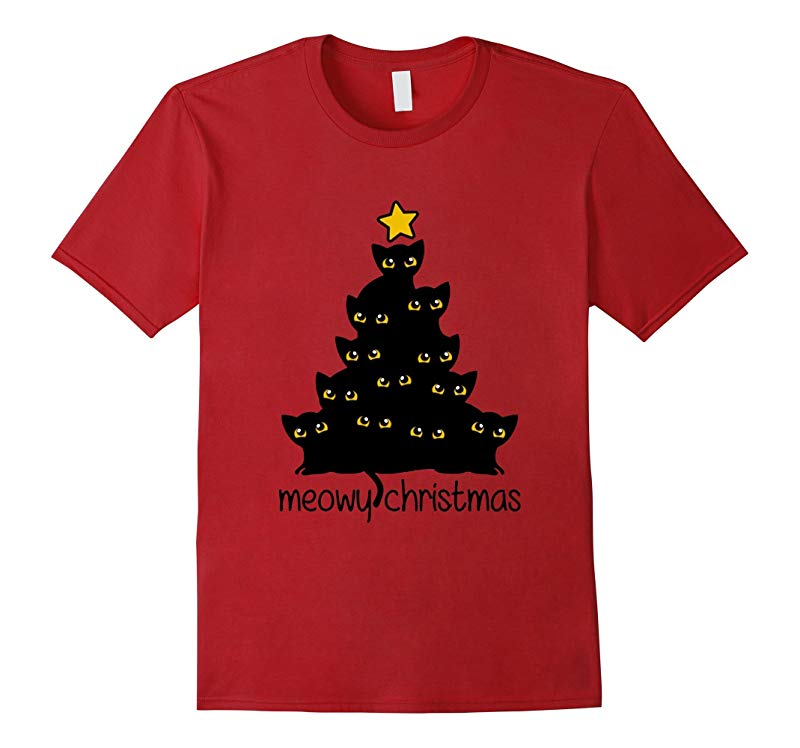 Cat Lover Merry Meowy Christmas Tree T-Shirt Shirt-RT