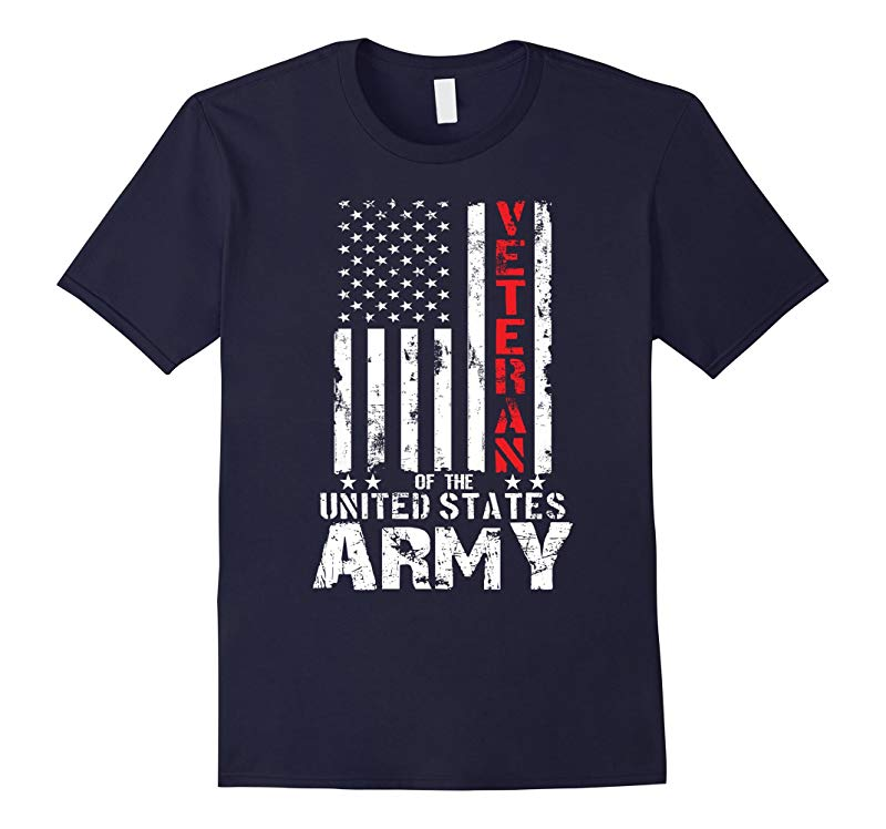US American Flag T-shirt for US Army Veterans Red Line-RT