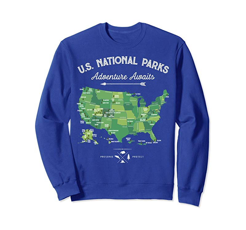 National Park Map Sweatshirt 59 US National Parks Vintage-TH