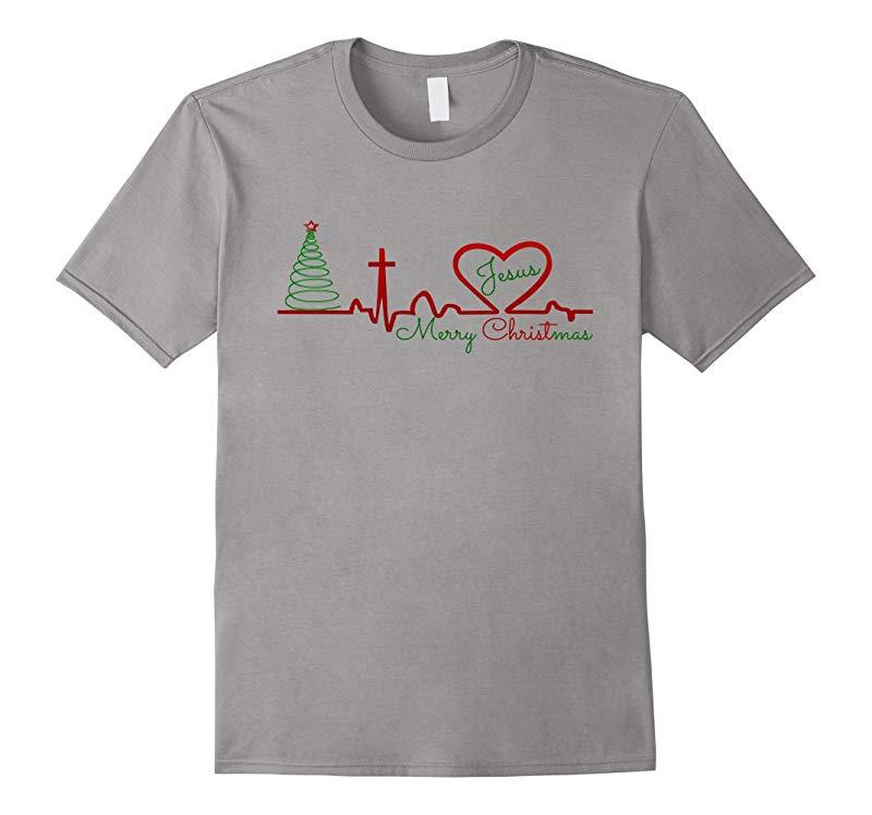 Christian Love Christmas Jesus Heartbeat Novelty T Shirt Top-RT