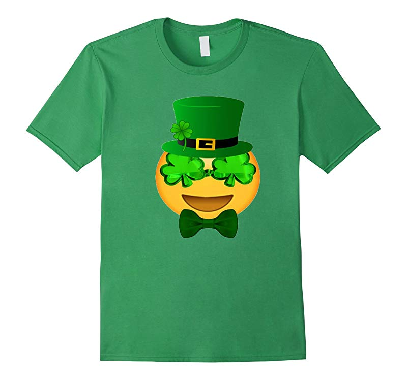Emoji St Patricks Day Green T Shirt Funny Bow Men Girls Boy-RT