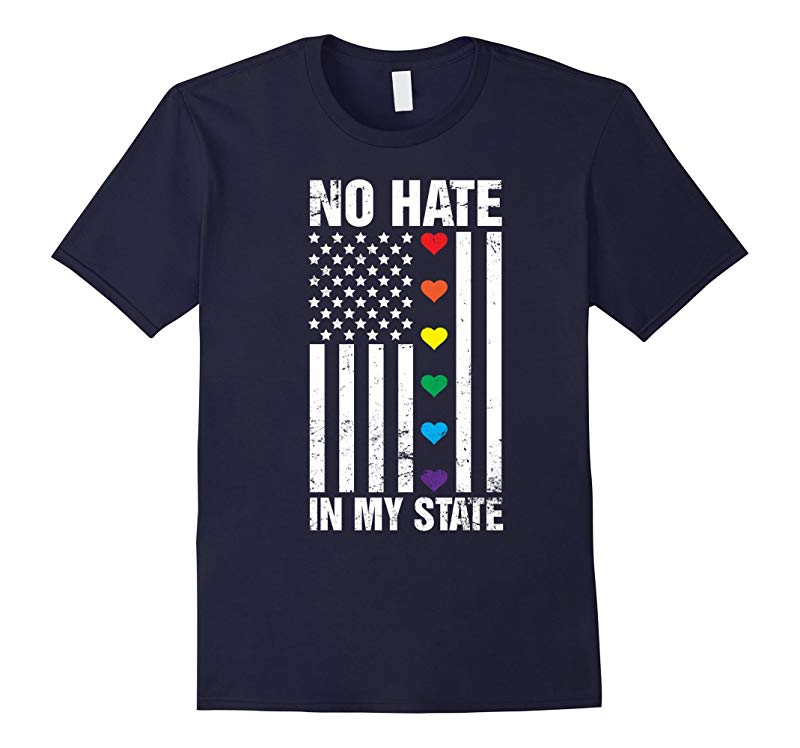 No Hate in United State Rainbow Love LGBT Flag Pride T-shirt-RT