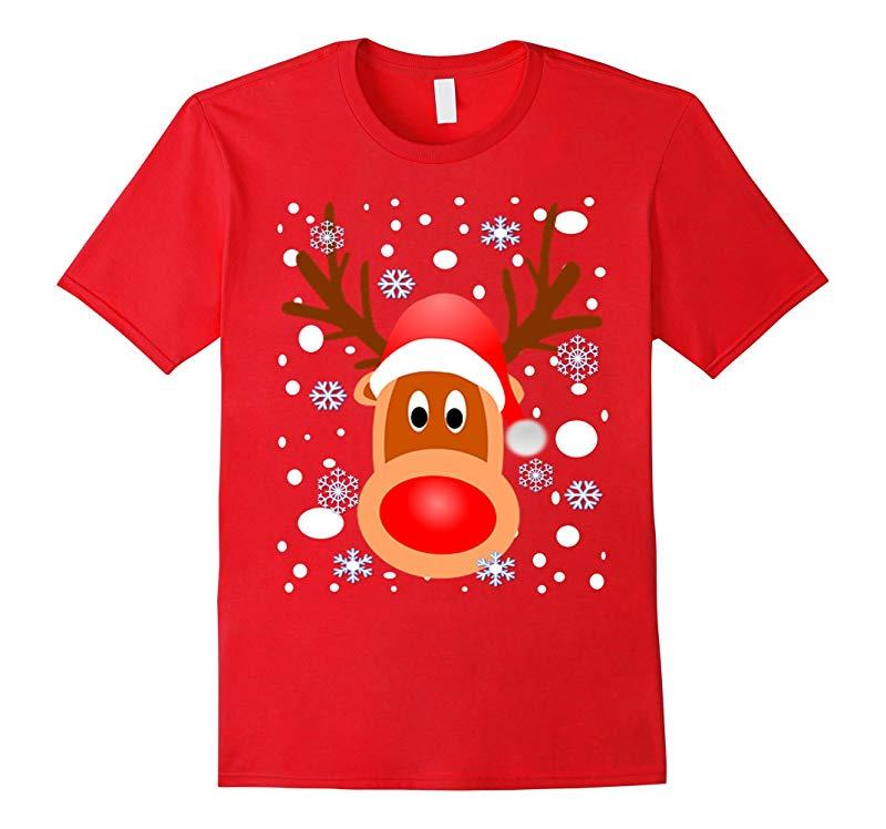 CHRISTMAS REINDEER SHIRT-SNOW-SNOWFLAKES-T Shirt-RT