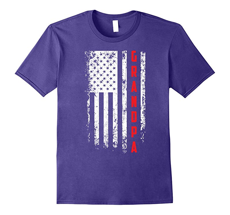 Fathers Day Gift American Red Grandpa flag t-shirt-Vaci