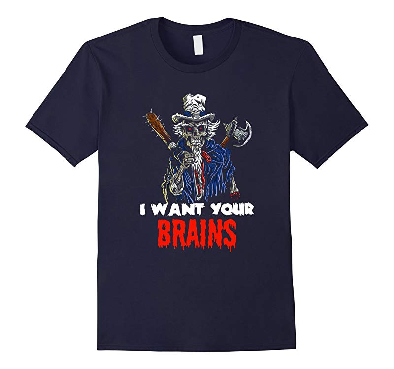 Patriotic Lincoln Zombie Wants Your Brains Halloween T-Shirt-RT