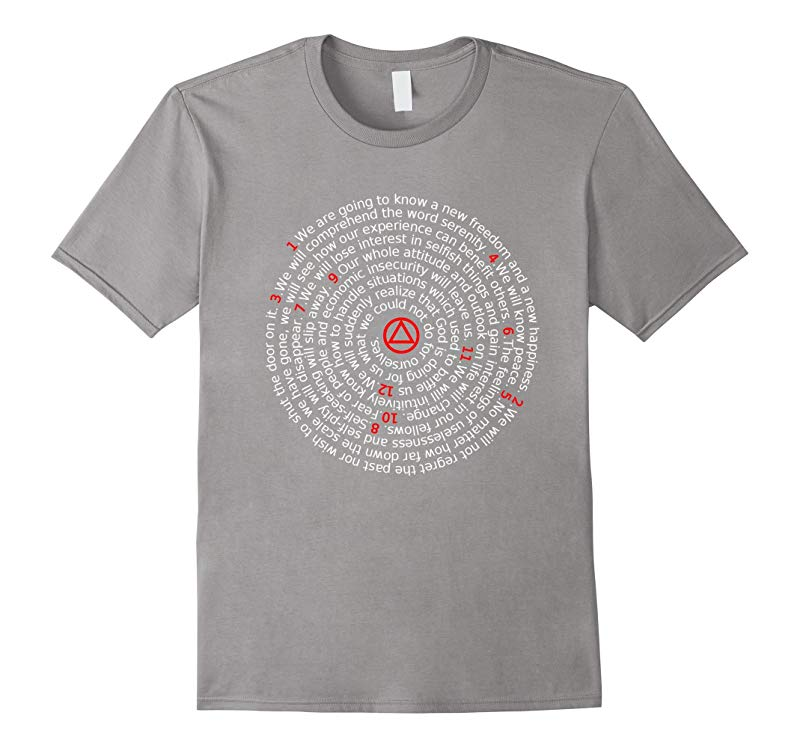 'The Twelve Promises' - AA 12 Step Recovery Spiral T-Shirt-RT