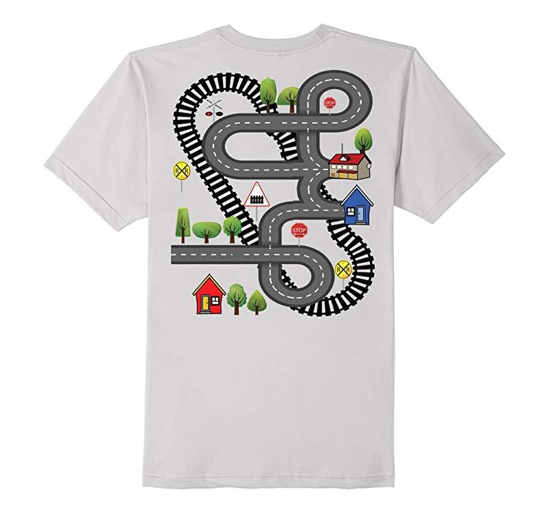 Train Car Road Track Playmat T-Shirt - Printed On Back-TH