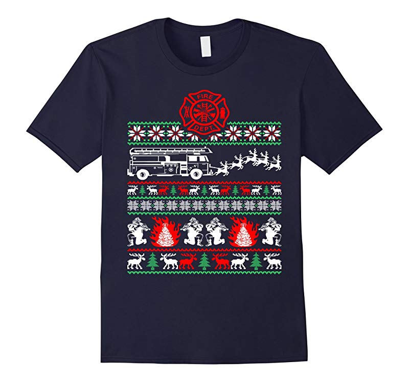Christmas Firefighter Ugly Sweater TShirt-RT