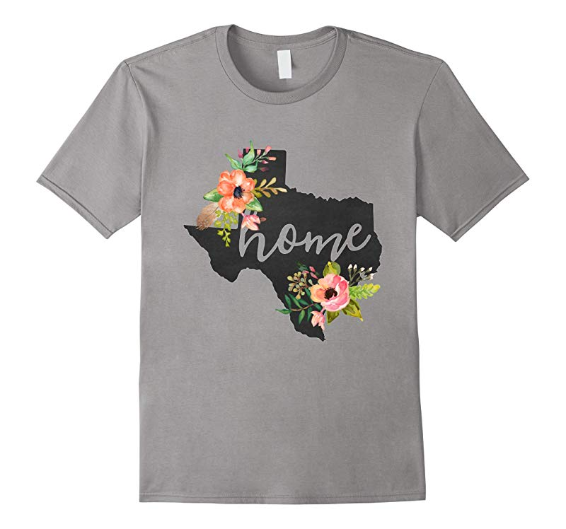 Texas Home Chalkboard Watercolor Flowers State T-Shirt-RT