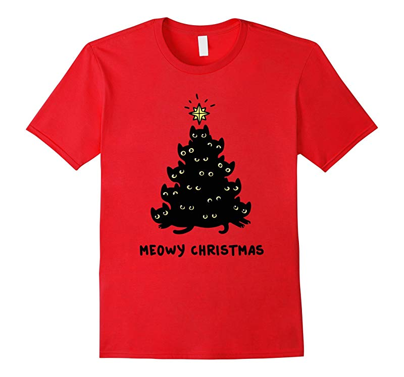 Black cat Tree Christmas T shirt Meowy Christmas tee-Art