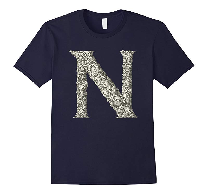 Capital Letter N Organic Alphabet Vintage Art T-Shirt-RT