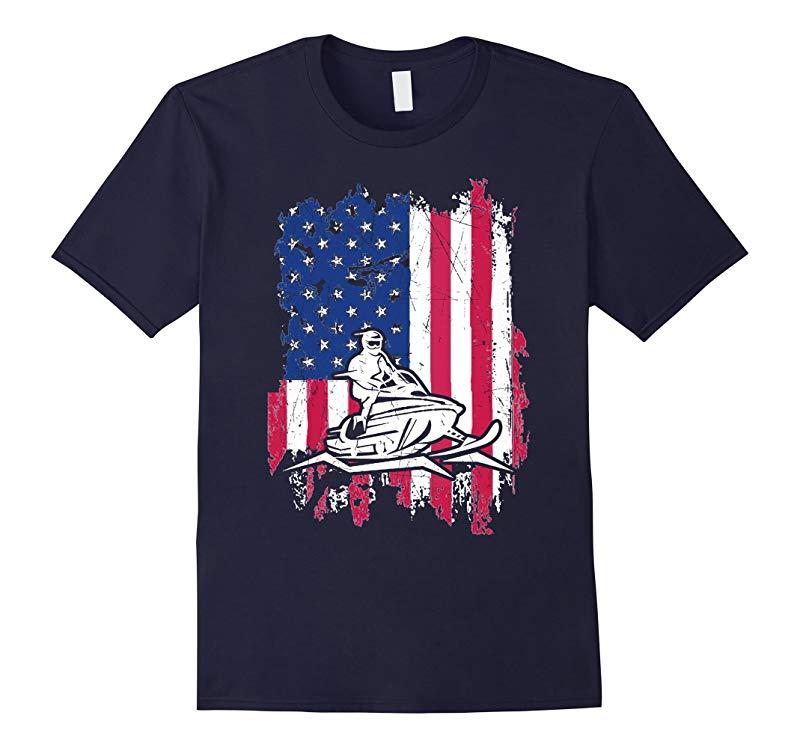 Snowmobile American Flag Love Snowmobile T-Shirt-RT