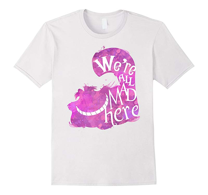Cheshire Faced Cat We're All Mad Here Watercolor T-Shirt-RT