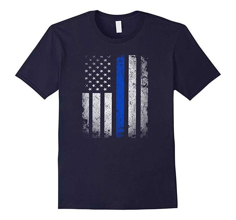 Thin Blue Line American Flag T-Shirt Police BACK THE BLUE-Vaci