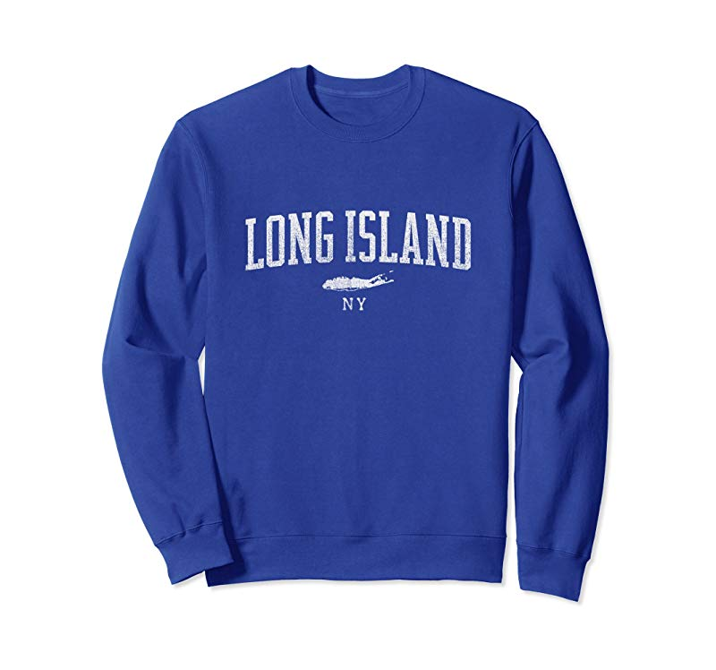 Long Island NY sweatshirt - Vintage Sports look, Men & Women-alottee gift
