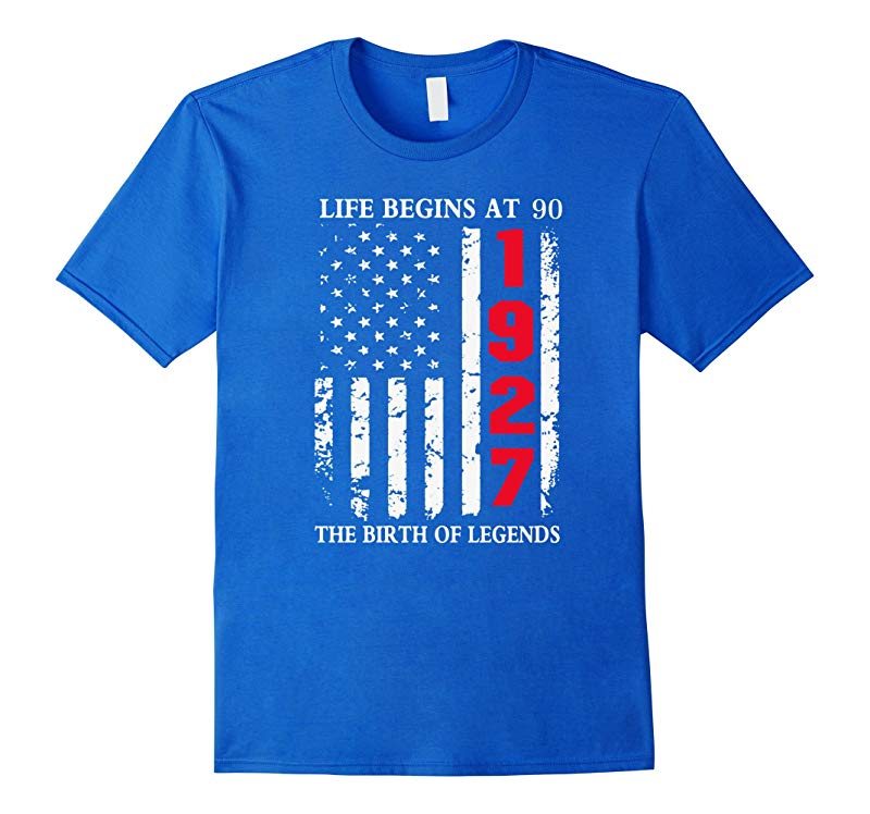 1927 The Birth Of Legends Life Begins At 90 Birthday T-shirt-TD