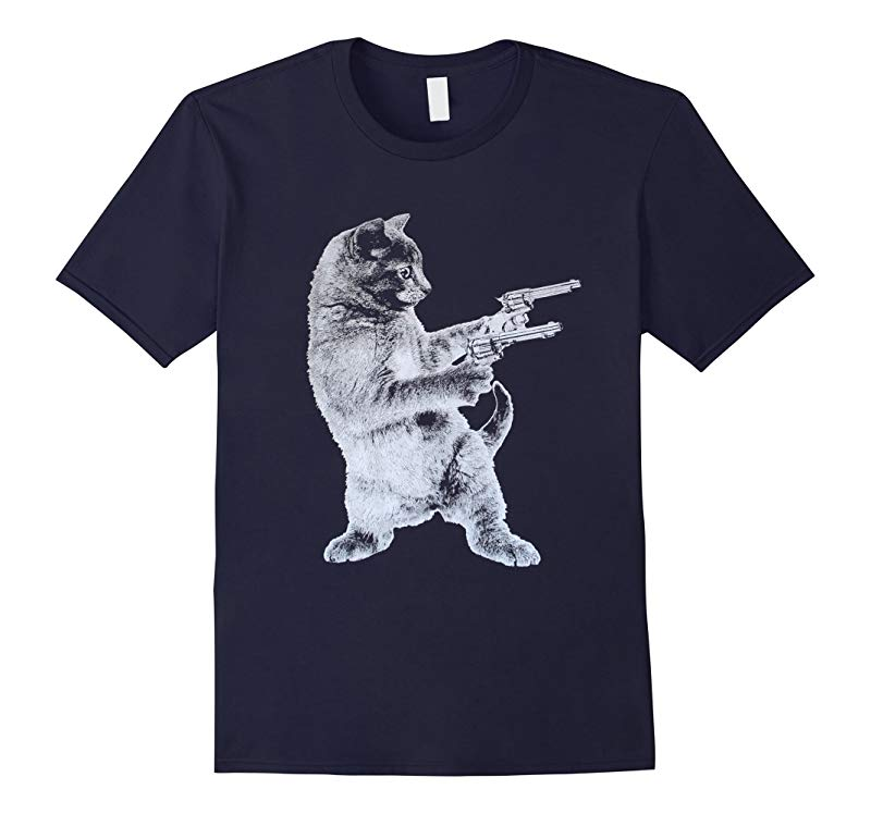 Gunslinger Kitty - Cat T-Shirt- Cat Lover- Funny Gun Tee-TH
