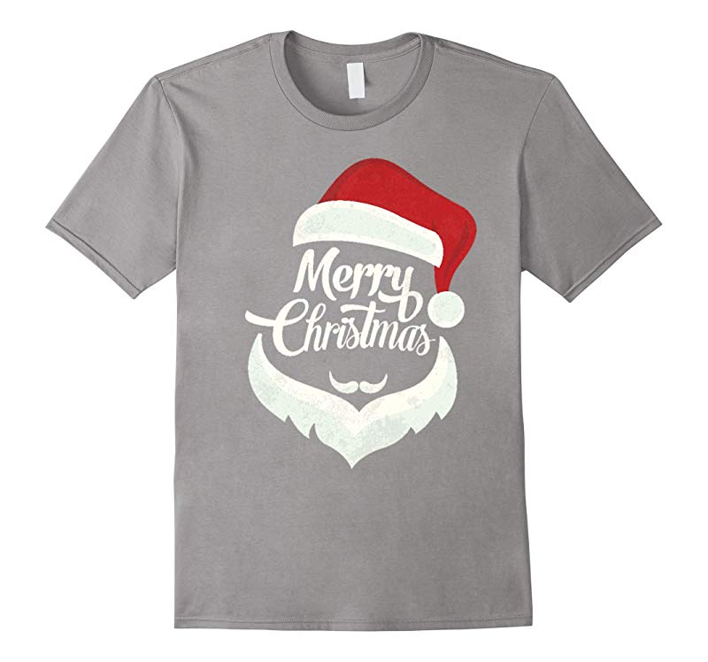 Cute Santa Merry Christmas Red Hat White Mustache Beard Tee-RT
