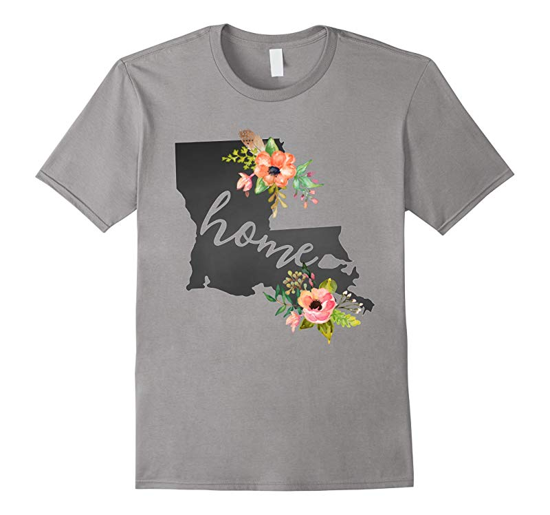 Louisiana Home Chalkboard Watercolor Flowers State T-Shirt-RT