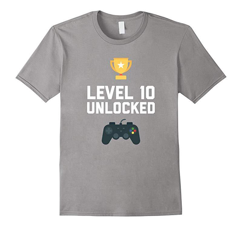 10th Birthday Shirt Gift 10 Year Old Level Up Gamer Tshirt-RT